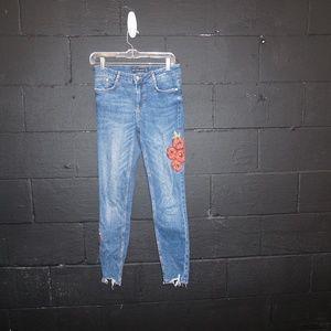 ZARA Poppy Floral embroidered skinny jeans trashed